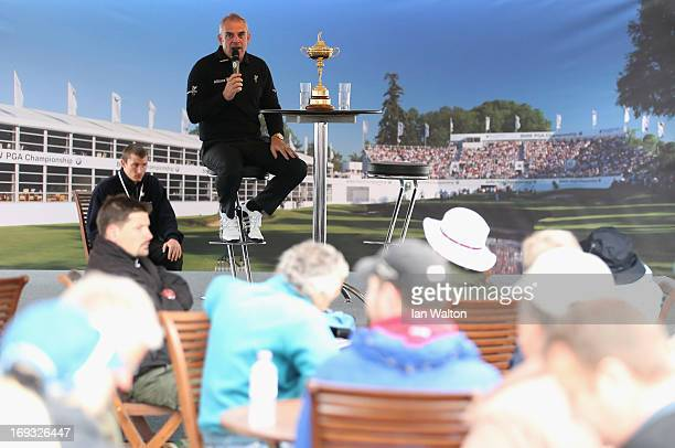 European Ryder Cup captain Paul McGinley of Ireland answers questions from spectators in the public village during the first round of the BMW PGA...