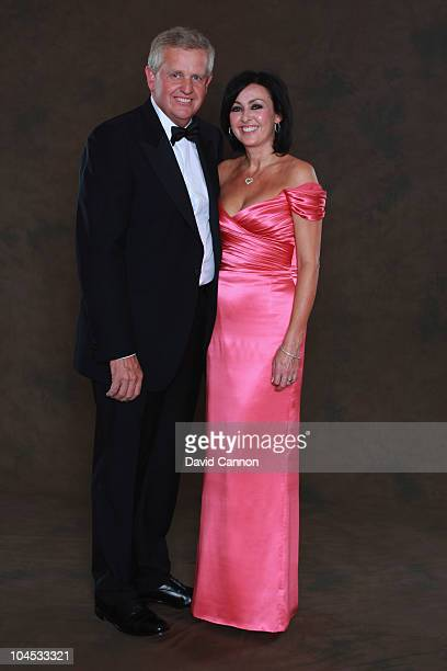 European Ryder Cup team captain Colin Montgomerie poses with his wige Gaynor prior to the 2010 Ryder Cup Dinner at the Celtic Manor Resort on...