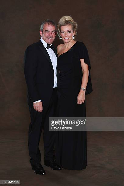 European Ryder Cup team vicecaptain Paul McGinley poses with his wife Alison prior to the 2010 Ryder Cup Dinner at the Celtic Manor Resort on...
