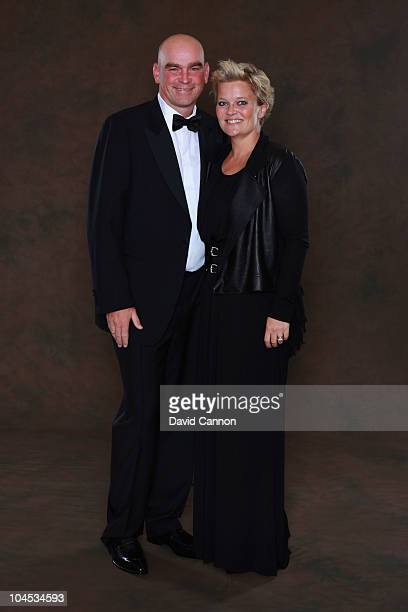 European Ryder Cup team vice-captain Thomas Bjorn poses with his wife Pernilla prior to the 2010 Ryder Cup Dinner at the Celtic Manor Resort on...