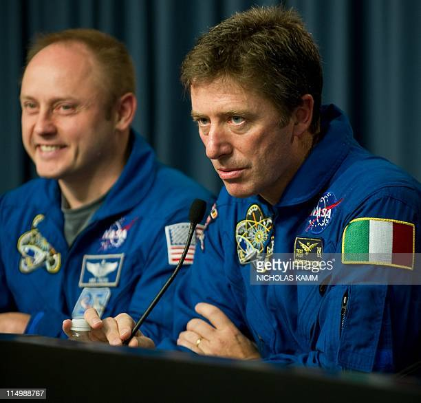 European Space Agency astronaut Roberto Vettori of Italy speaks at a press conference after the landing of US space shuttle Endeavour at Kennedy...