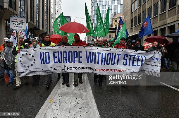 European steel workers take part in a protest outside the European Commission in Brussels on November 9 against the import of low priced Chinese...