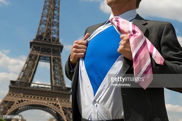 European Superhero Businessman Standing at the Eiffel Tower Paris France