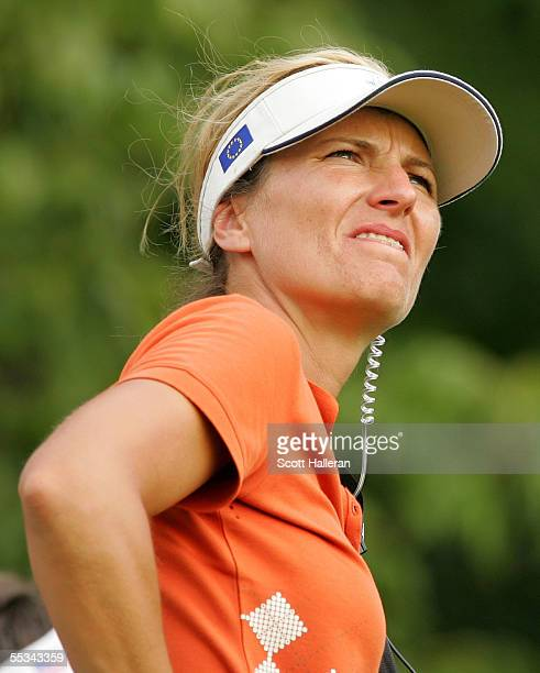 European team captain Catrin Nilsmark watches the play during the Saturday afternoon four-ball matches at the Solheim Cup at Crooked Stick Golf Club...