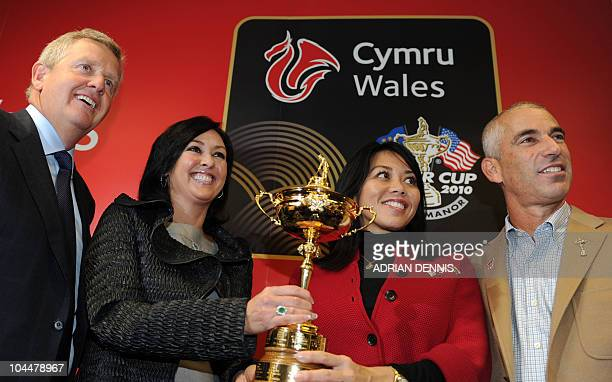 European team captain Colin Montgomerie and US team captain Corey Pavin pose for pictures with their wives Gaynor Montgomerie and Lisa Pavin...