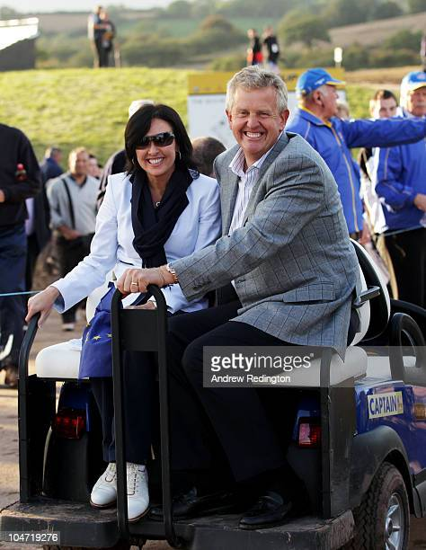 European Team Captain Colin Montgomerie rides in a bugy with his wife Gaynor following Europe's 145 to 135 victory over the USA at the 2010 Ryder Cup...