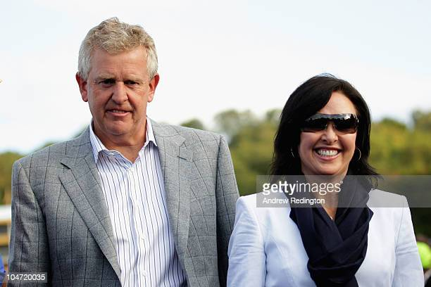 European Team Captain Colin Montgomerie walks with his wife Gaynor following Europe's 145 to 135 victory over the USA at the 2010 Ryder Cup at the...
