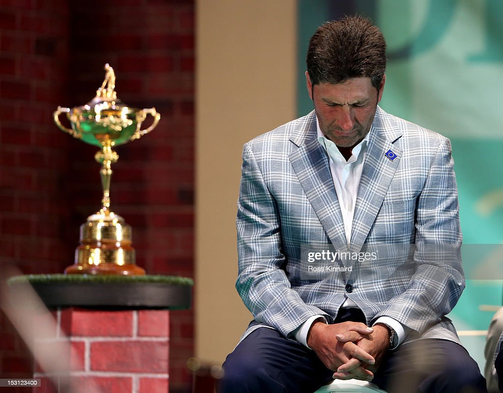 European team captain Jose Maria Olazabal breaks down at the closing ceremonies after Europe defeated the USA 14.5 to 13.5 to retain the Ryder Cup during the Singles Matches for The 39th Ryder Cup at Medinah Country Club on September 30, 2012 in Medinah, Illinois.