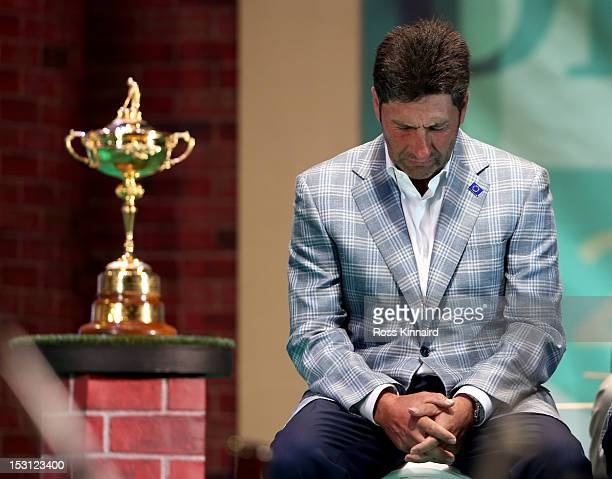 European team captain Jose Maria Olazabal breaks down at the closing ceremonies after Europe defeated the USA 145 to 135 to retain the Ryder Cup...