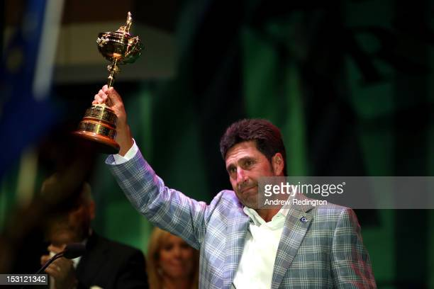 European team captain Jose Maria Olazabal holds the Ryder Cup at the closing ceremonies after Europe defeated the USA 145 to 135 to retain the Ryder...