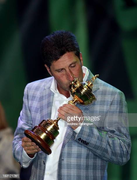 European team captain Jose Maria Olazabal kisses the Ryder Cup at the closing ceremonies after Europe defeated the USA 145 to 135 to retain the Ryder...