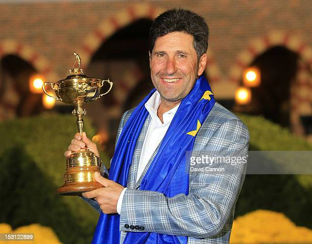 European team captain Jose Maria Olazabal poses with the Ryder Cup after Europe defeated the USA 145 to 135 to retain the Ryder Cup during the...