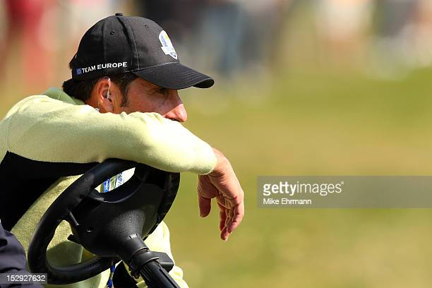 European team captain Jose Maria Olazabal watches the action during the Afternoon FourBall Matches for The 39th Ryder Cup at Medinah Country Club on...