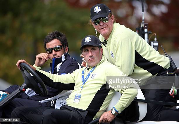 European team captain Jose Maria Olazabal watches the action with vice capatin Miguel Angel Jimenez during the Afternoon FourBall Matches for The...