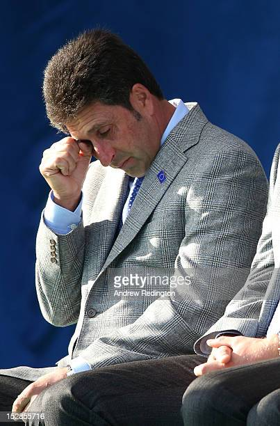 European Team captain Jose Maria Olazabal wipes away a tear during a tribute to Seve Ballesteros at the Opening Ceremony for the 39th Ryder Cup at...