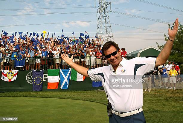 European team captain Nick Faldo waits on the first tee during the singles matches on the final day of the 2008 Ryder Cup at Valhalla Golf Club on...