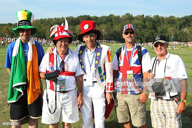 European team fans watch the play during the morning foursomes of day one of the 2008 Ryder Cup at Valhalla Golf Club on September 19, 2008 in...