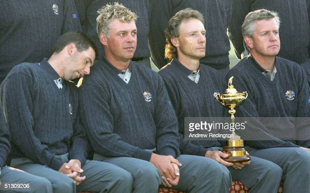 European Team member Sergio Garcia of Spain clowns with his teammates during the European official team photocall for the 35th Ryder Cup Matches at...