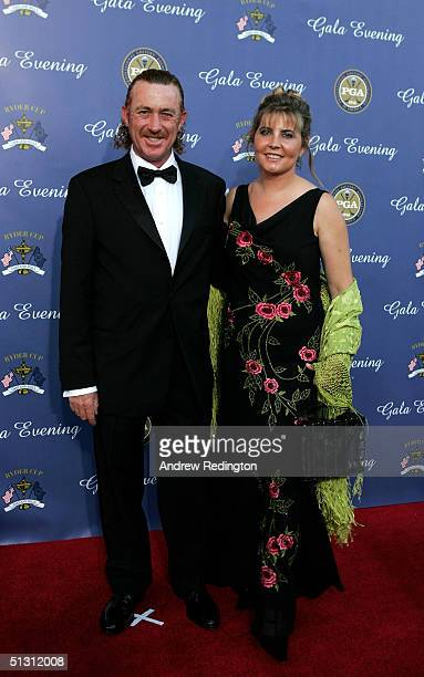 European team player Miguel Angel Jimenez of Spain with his wife Montserrat Jimenez arriving at the 35th Ryder Cup Matches Gala Dinner at the Fox...
