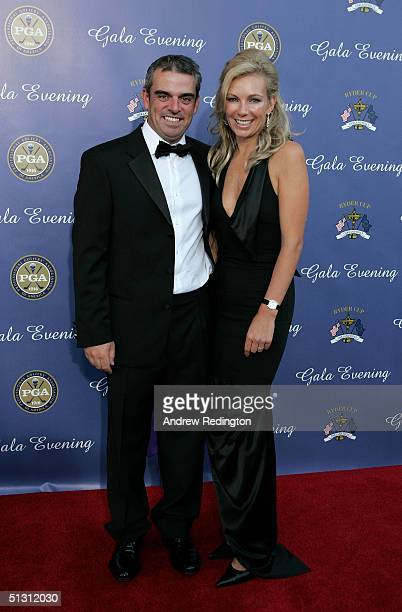 European team player Paul McGinley of Ireland with his wife Alison McGinley arriving at the 35th Ryder Cup Matches Gala Dinner at the Fox Theater on...