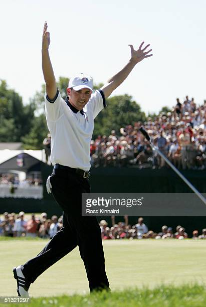 European team player Sergio Garcia celebrates after holing his putt on the 18th green to halve his match against Jay Haas and Chris Di Marco of the...