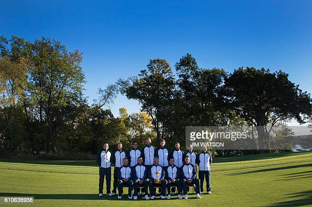 European team poses for pictures at Hazeltine National Golf Course in Chaska Minnesota September 27 ahead of the 41st Ryder Cup Sergio Garcia of...