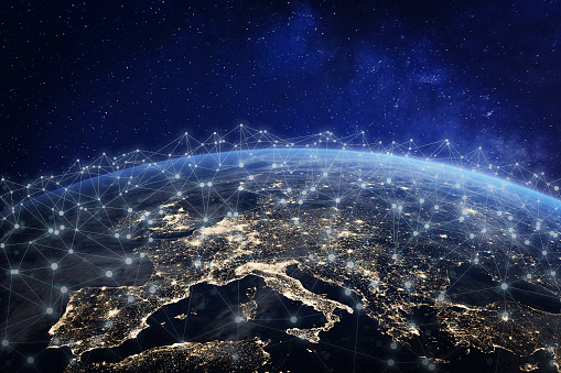 European telecommunication network connected over Europe, France, Germany, UK, Italy, concept about internet and global communication technology for finance, blockchain or IoT, elements from NASA 1041174316