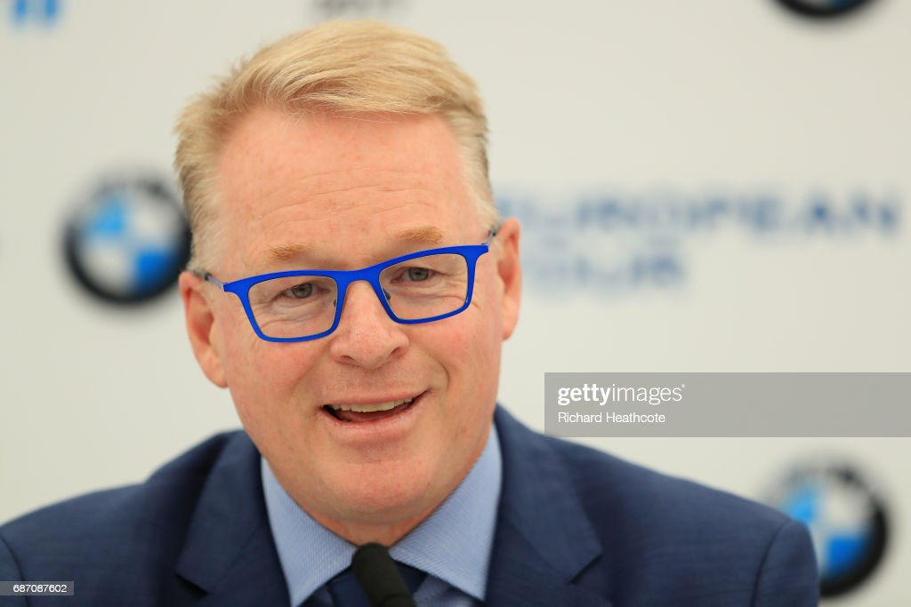 European Tour CEO Keith Pelley speaks to the media during a press conference ahead of the BMW PGA Championship at Wentworth on May 23, 2017 in Virginia Water, England.