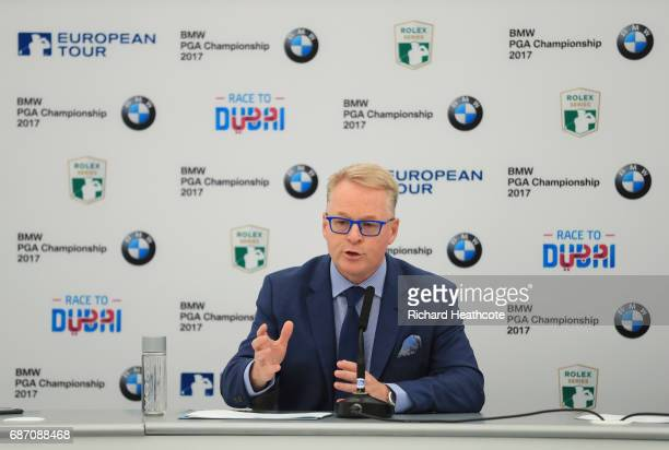 European Tour CEO Keith Pelley speaks to the media during a press conference ahead of the BMW PGA Championship at Wentworth on May 23 2017 in...