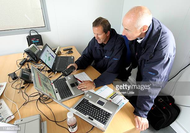 European Tour Meteorologist Mike McLellan checks the pending weather systems with Tournament Director Mike Stewart as play is suspended for the day...