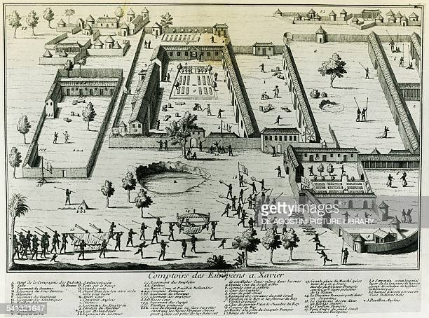 European trading posts in Savi Kingdom of Dahomey engraving by JeanBaptiste Labat Benin 18th century Paris Bibliothèque Nationale De France