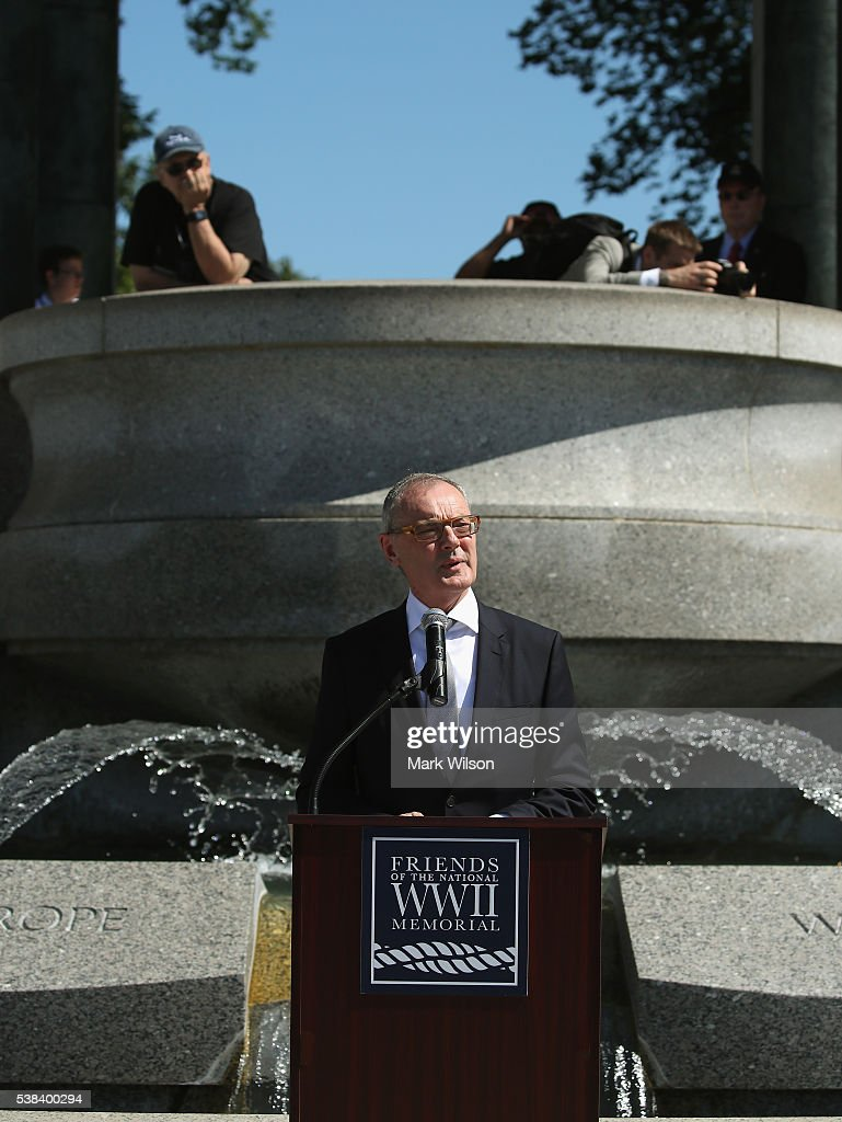 European Union Ambassador David O'Sullivan speaks during a D-Day anniversary wreath laying ceremony at the National World War II Memorial on June 6, 2016 in Washington, DC. Today marks the the 72nd anniversary of the 1944 Allied invasion at Normandy.