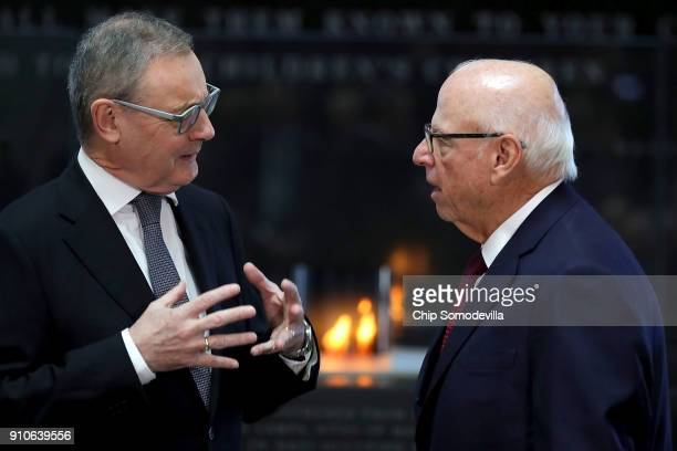 European Union Ambassador to the United States David O'Sullivan and US Holocaust Memorial Council Chairman Howard Lorber visit before commemorating...