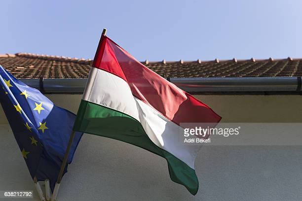 European Union an Hungary Flags