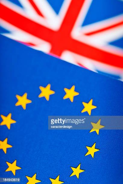 european union and great britain flags - british and eu flag stock pictures, royalty-free photos & images