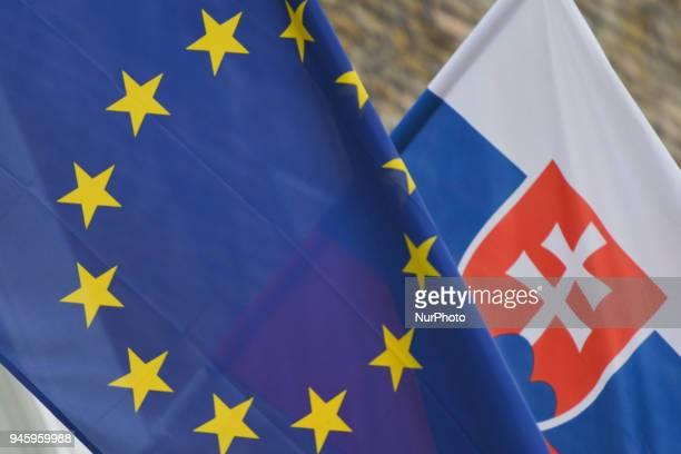 European Union and Slovakia flags On Friday April 13 in Dublin Ireland