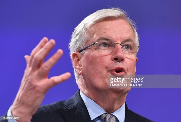 European Union chief Brexit negotiator Michel Barnier addresses a press conference at the European Commission in Brussels on December 20 2017 / AFP...