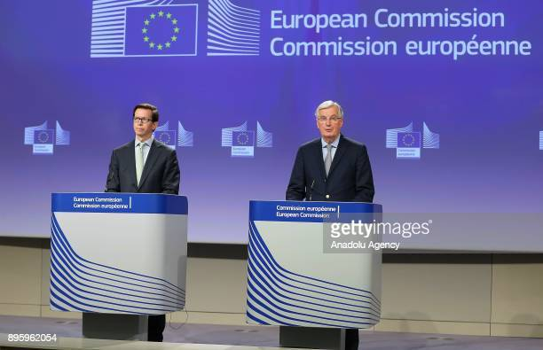 European Union Chief Brexit Negotiator Michel Barnier addresses during a press conference at the European Commission in Brussels Belgium on December...