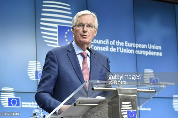 European Union Chief Negotiator in charge of Brexit negotiations Michel Barnier gives a press conference after a General affairs council debate on...
