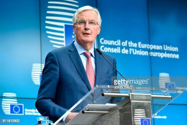 European Union Chief Negotiator in charge of Brexit negotiations Michel Barnier gives a press after a General affairs council debate on the article...
