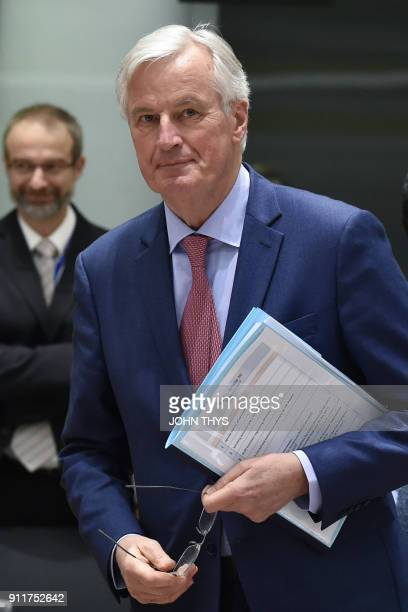 European Union Chief Negotiator in charge of Brexit negotiations Michel Barnier arrives for a General affairs council debate on the article 50...