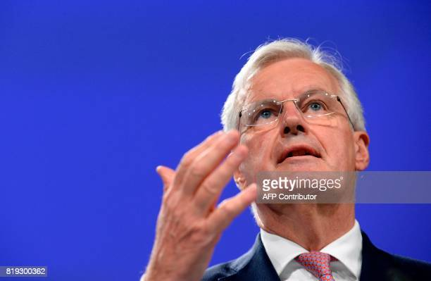 European Union Chief Negotiator in charge of Brexit negotiations with Britain Michel Barnier addresses media representatives during a press...