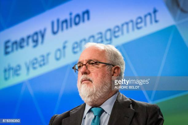 European Union Climate and Energy Commissioner Miguel Arias Canete delivers a statement during a press conference in Brussels on November 24 2017 /...