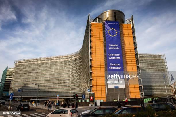 ベルギーのブリュッセルにある欧州連合委員会ビル - ユーロ圏財務相会合 ストックフォトと画像
