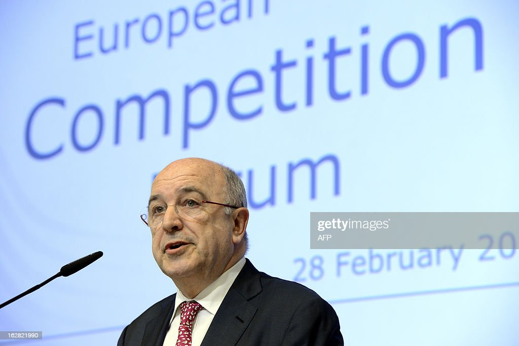European Union Commissioner for Competition Joaquin Almunia speaks during the European Competition Forum held at the EU Commission headquarter in Brussels, on February 28, 2013.