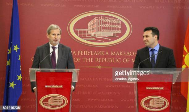European Union Commissioner for Enlargement Johannes Hahn and Prime Minister of Macedonia Zoran Zaev hold a joint press conference after their...