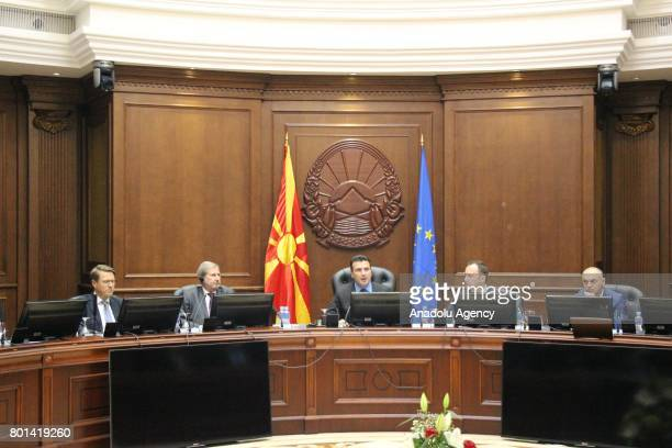 European Union Commissioner for Enlargement Johannes Hahn and Prime Minister of Macedonia Zoran Zaev attend a meeting on emergency reforms for Euro...