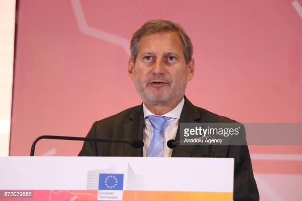 European Union Commissioner for Enlargement Johannes Hahn and Prime Minister of Albania Edi Rama attend the opening of the conference on 'Media Days...