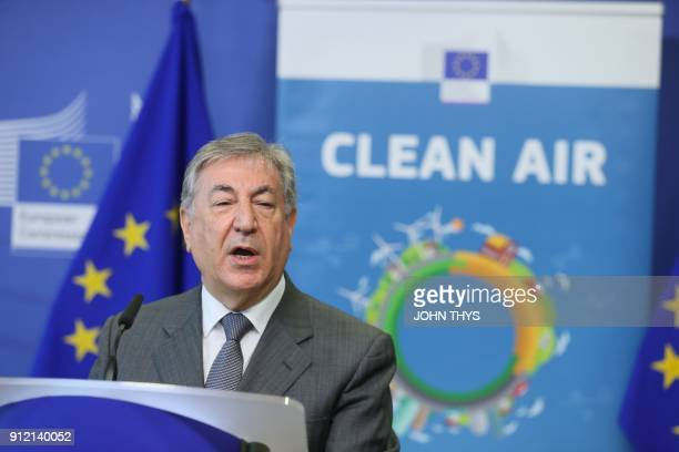 European Union Commissioner for Environment Maritime Affairs and Fisheries Karmenu Vella speaks during a press conference following a meeting with EU...