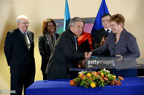 European Union Commissioner for International Cooperation Humanitarian Aid and Crisis Response Kristalina Georgieva shakes hand after signing the...